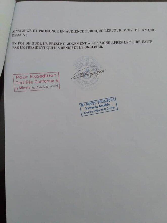 """Contre Jean Remy YAMA (Gérant) et son homme de main, Sieur NGOUESSI Fabrice : """"le délit d'instigation à la destruction des biens appartenant à autrui"""", article 49, 332 et 335 du Code pénal./doc 5"""