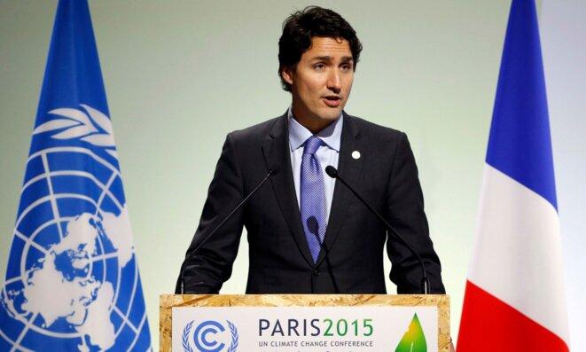 Le premier ministre canadien Justin Trudeau à Paris en 2015, à l'occasion de la COP21. © Reuters