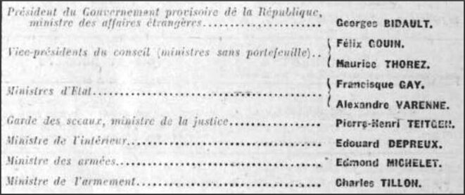 Gouvernement Bidault I (juin 1946) © Gallica.fr/BNF — usage non commercial