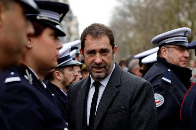 Christophe Castaner, le 7 janvier 2019, au milieu de ses troupes. © Reuters