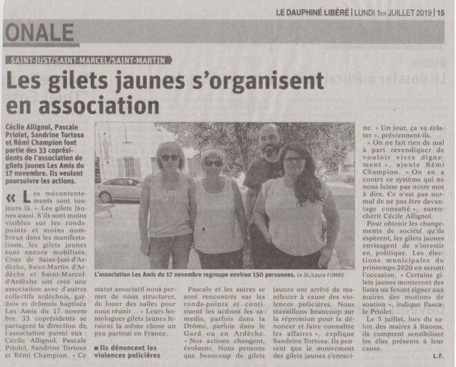 Article du Dauphiné Libéré du 1er juillet 2019 © Duaphiné Libéré, par Laure Fumas