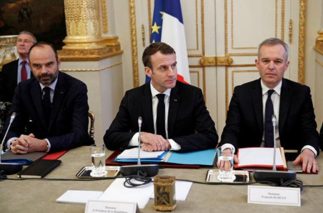 François de Rugy, right, with President Emmanuel Macron  and prime minister Édoaurd Philippe, December 10th 2018. © Reuters