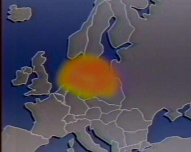 Le nuage radioactif évite la France sur un graphique du journal télévisé d'Antenne 2 en 1986. © DR