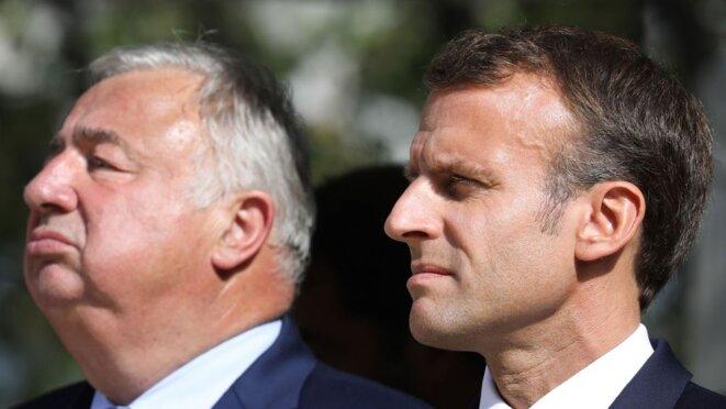 Emmanuel Macron et Gérard Larcher en Septembre 2018. © afp.com/Ludovic MARIN