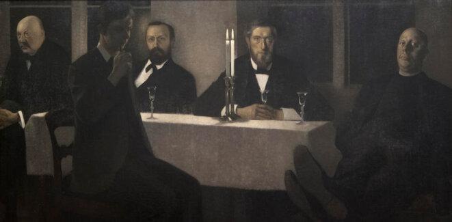 Vilhelm Hammershøi, Cinq portraits, 1901-1902, huile sur toile, 190 x 300 cm Stockholm, Thielska Galleriet © Photo credit: Tord Lund