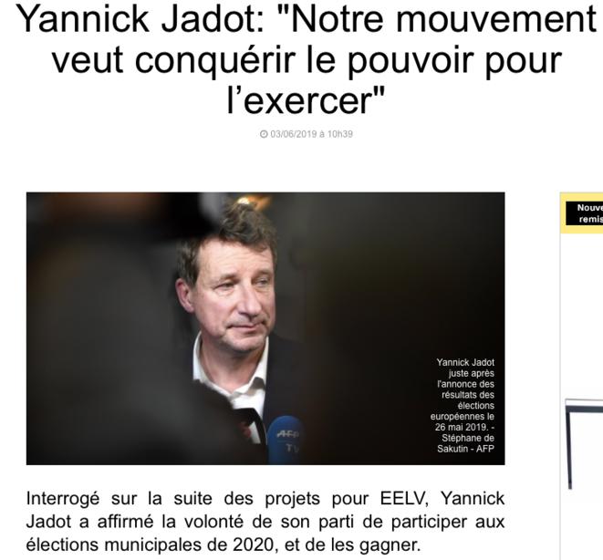 Interview de Yannick Jadot après les européennes 2019 © BFMTV