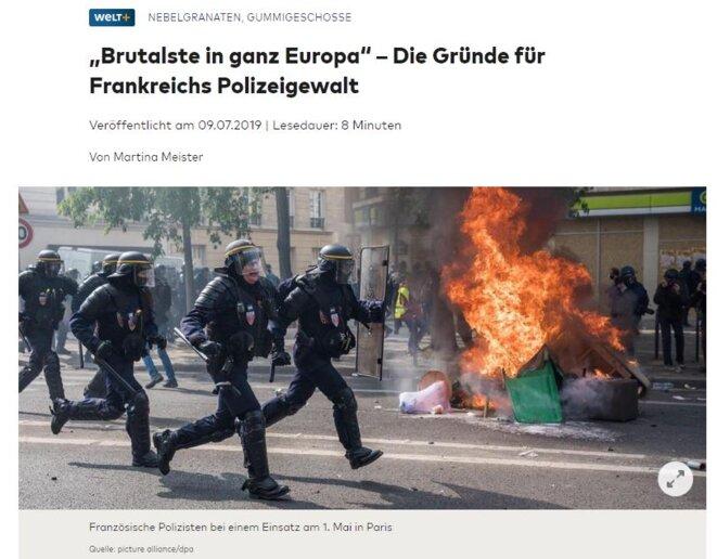 """""""La plus brutale d'Europe"""" - Les raisons de la violence policière française - Die Welt"""