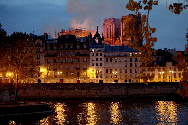 Notre-Dame en flammes, le 15 avril 2019 © Patrick Artinian
