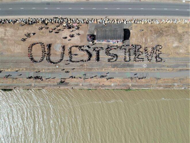 Les participants sur le quai Wilson, vu du ciel, le 20 juillet. © Media'Son