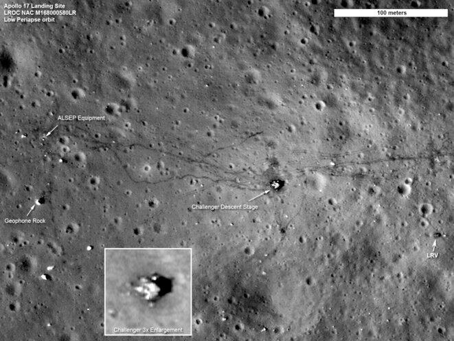 Photo du site d'alunissage d'Apollo 17 prise par la sonde Lunar Orbiter.