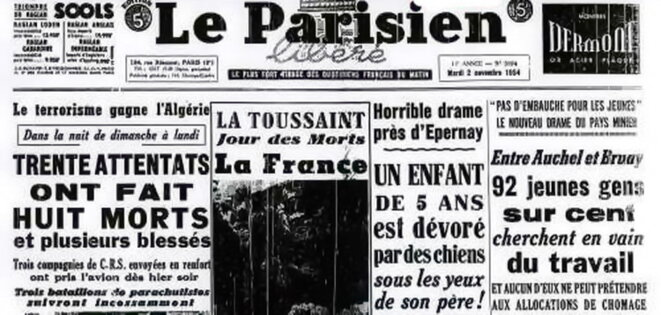 Une du journal Le Parisien, le 2 Novembre 1954 / Crédits photo : Gallica