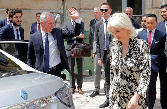 François et Séverine de Rugy, le jour de la passation de pouvoir, le 17 juillet 2019. © Reuters