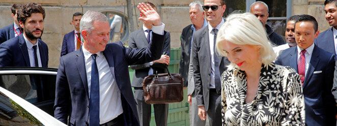 François de Rugy à l'issue de la cérémonie de passation au ministère de la transition écologique, le 17 juillet. © Reuters