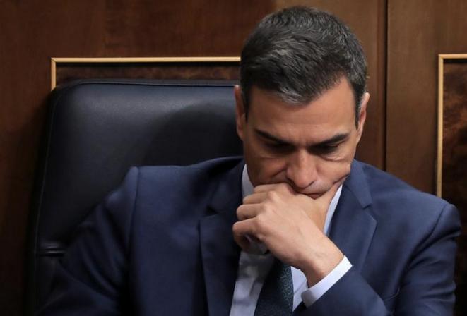 Pedro Sanchez, peu après l'échec de son investiture au Parlement, à Madrid, le 25 juillet 2019. © REUTERS/Sergio Perez