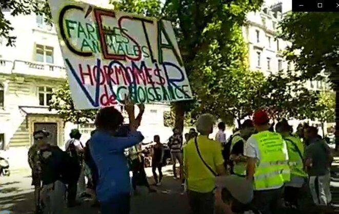 Devant l'Assemblé nationale, le 23 juillet contre la signature du CETA © Le Media GJ