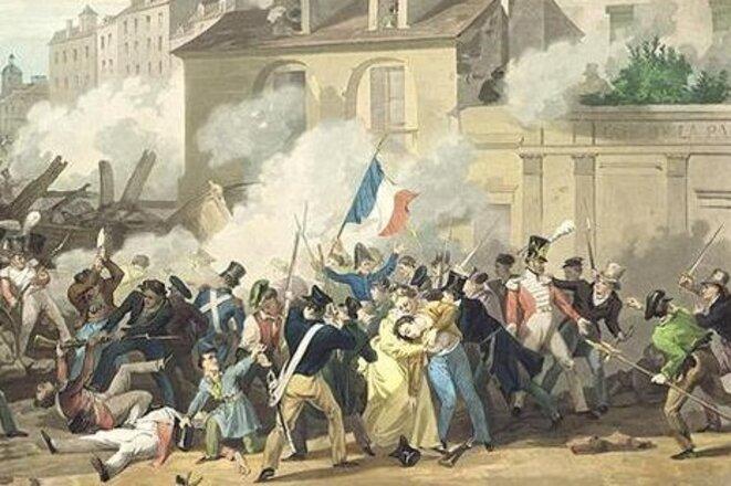 Barricade rue Saint-Antoine, 28 juillet 1830