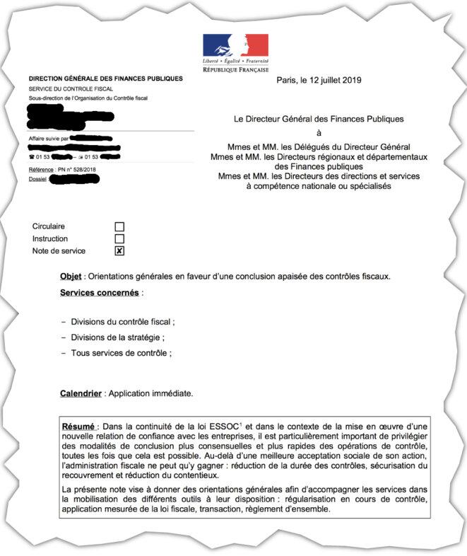 La note envoyée le 12 juillet 2009 par le patron de la DGFIP (l'administration fiscale), Jérôme Fournel. © Document Mediapart