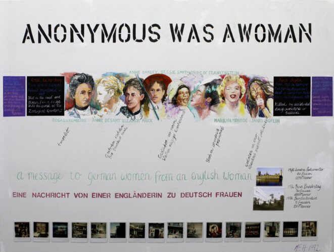 "Margaret Harrison, ""From Rosa Luxemburg to Janis Joplin"". no 2/1992, ""Anonymous was a woman"", Exposition personnelle ""Danser avec les missiles"", FRAC Lorraine, Metz, 2019. © Margaret Harrison"