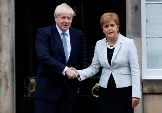 Boris Johnson et Nicola Sturgeon le 29 juillet 2019. © Reuters