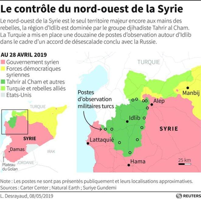 Le contrôle du nord-ouest de la Syrie. © Reuters