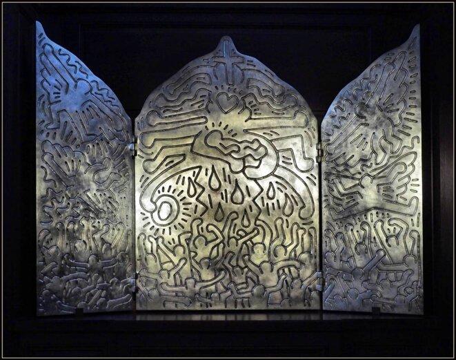 """Keith Haring, triptyque """"Vie du Christ"""", église Saint-Eustache à Paris."""