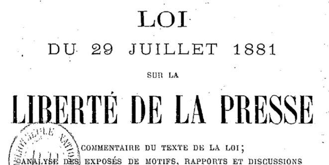 Loi de 1881 sur la liberté de la presse © Pierre Reynaud