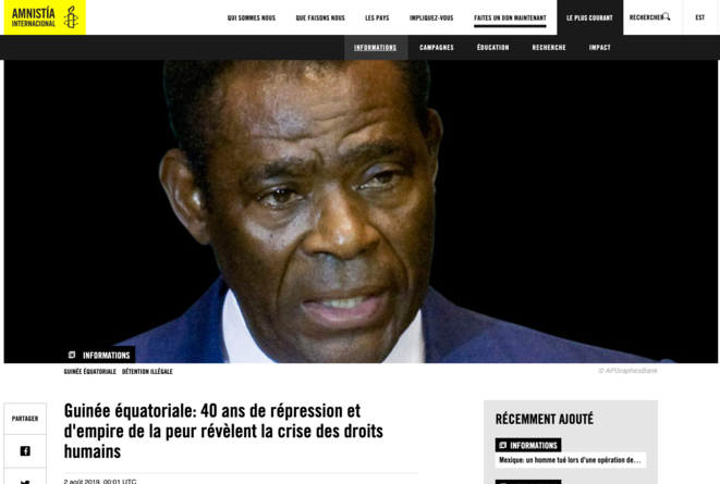 international dénonce le régime d'OBIANG © AMNESTY INTERNATIONAL