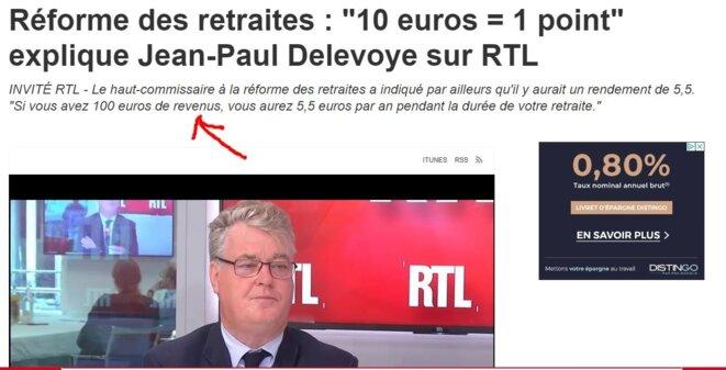"""RTL écrit à tort que """"100 euros de revenus"""" fourniront 5,5 € de pension [capture d'écran YF]"""