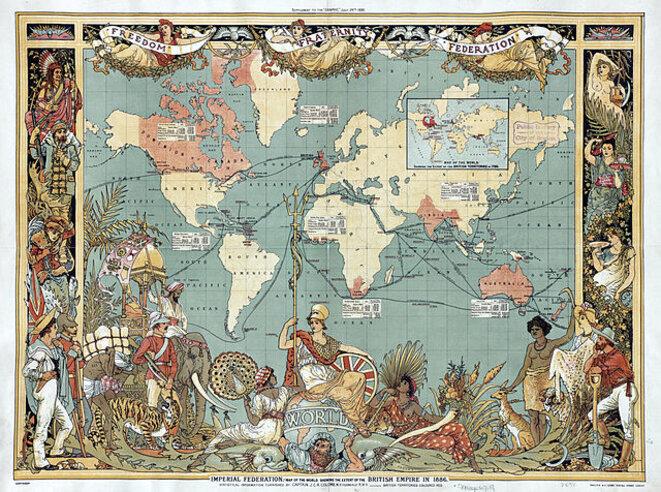 Carte de l'Empire britannique en 1886 par Walter Crane. Source: Wikimedia Commons.