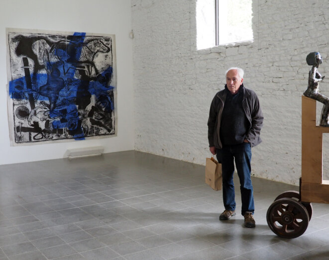 Paol Keineg à l'exposition Nicolas Fedorenko au Domaine de Kerguehennec (2018)