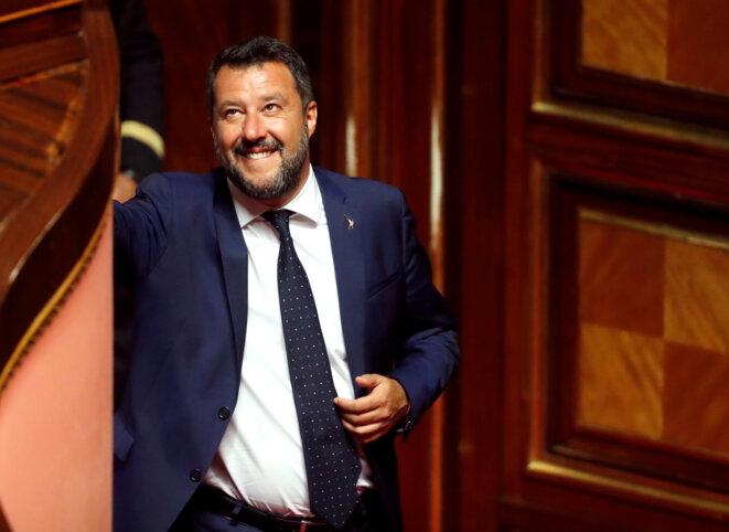 Matteo Salvini au Sénat italien, le 5 août 2019. © Reuters/Remo Casilli