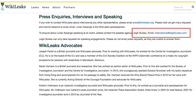 WikiLeaks webpage referring to LeighBureau © Public