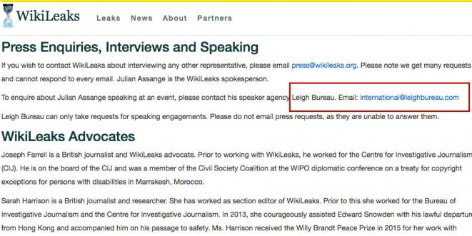 WikiLeaks.org page, modified for better LeighBureau visibility. © WikiLeaks public
