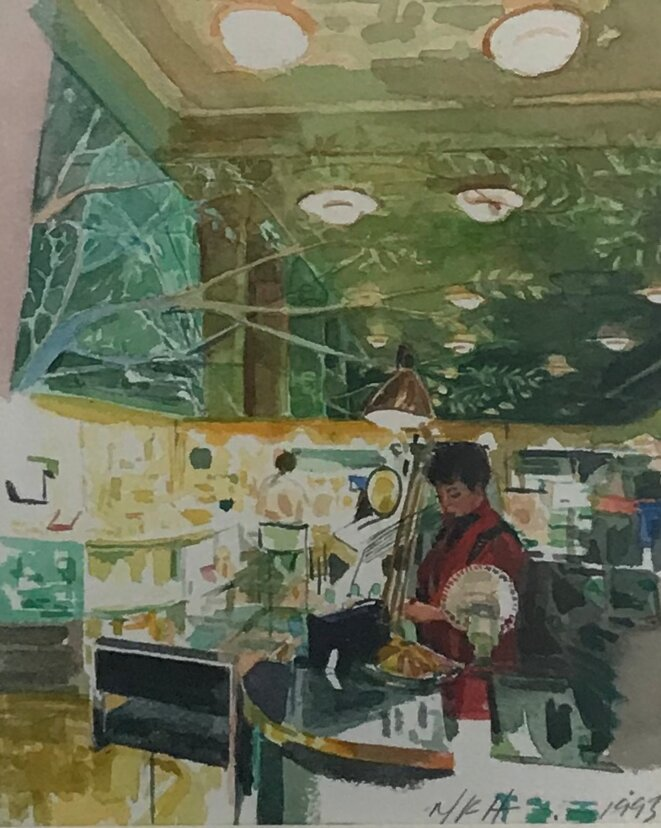 """Margaret Harrison, de la série """"Sent of identityI"""", aquarelle, 1993, Exposition personnelle """"Danser avec les missiles"""", FRAC Lorraine, Metz, 2019. © Guillaume Lasserre"""