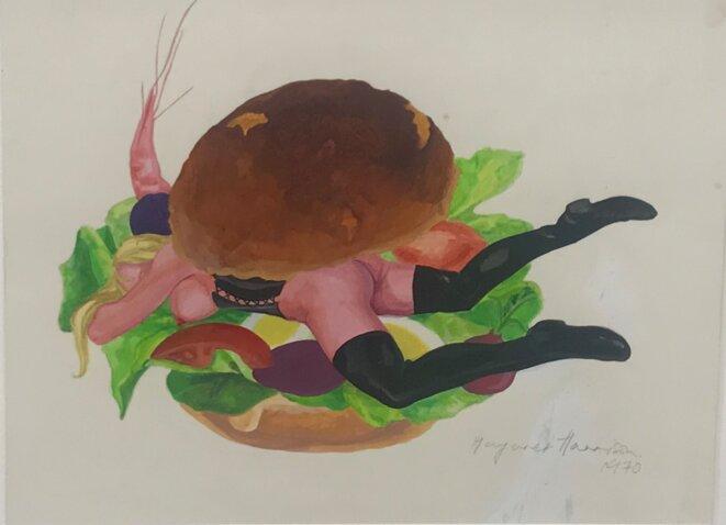"""Margaret Harrison, """"Good enough to eat"""", 1971 Crayon et aquarelle sur papier, Exposition personnelle """"Danser avec les missiles"""", FRAC Lorraine, Metz, 2019. © Guillaume Lasserre"""