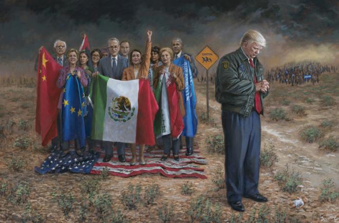 « Emergencia Nacional ». Cuadro de Jon McNaughton, artista pro-Trump de Utah. Retrata a Trump como un héroe estadounidense, piadoso, defendiendo la frontera contra los migrantes, mientras que los demócratas pisotean la bandera estadounidense. © Jon McNaughton