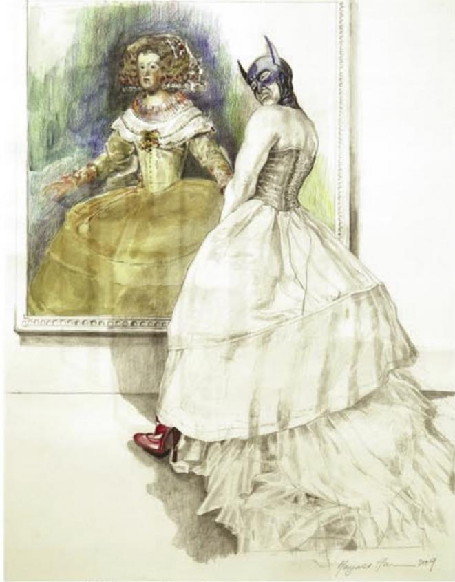 "Margaret Harrison, ""Two Princesses, Two Hands"" , 2009, crayon et aquarelle sur papier 38,5 x 54 cm, Exposition personnelle ""Danser avec les missiles"", FRAC Lorraine, Metz, 2019. © Collection particulière courtes the artist"