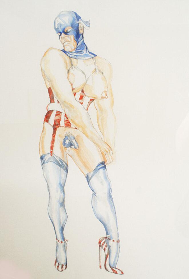 """Margaret Harrison, """"Captain AmericaI"""", 1997, Exposition personnelle """"Danser avec les missiles"""", FRAC Lorraine, Metz, 2019. © Margaret Harrison"""