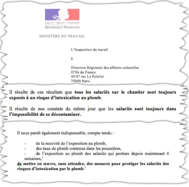 Extrait du rapport du 15 mai 2019 de l'inspection du travail sur le chantier de Notre-Dame de Paris.