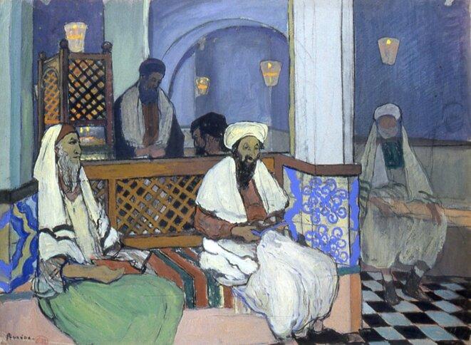 """André Suréda (Versailles, 1872 – 1930), """"Lecture de psaumes à la petite synagogue"""", 1913, Gouache sur papier, Autun, Musée Rolin © Musée Rolin - Ville d'Autun"""