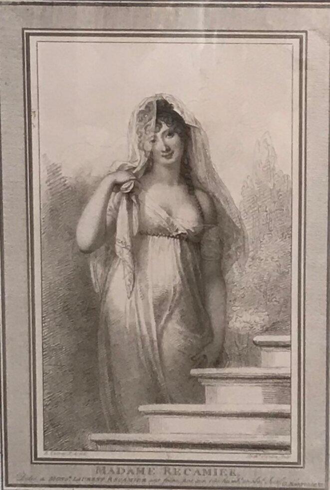 """Antoine Cardon (1772 - 1813), Richard Cosway (1742 - 1821), """"Madame Récamier"""", 1802, Eau-forte (verni ,mou à la manière du crayon), 30 x 21,2 cm, Bourg-en-Bresse, Musée du monastère royal © Guillaume Lasserre"""