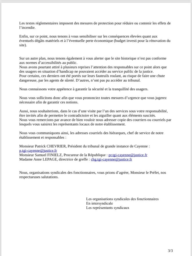 Tract des organisations syndicales des fonctionnaires des services de Justice de Guyane en intersyndicale (12 août 2019).