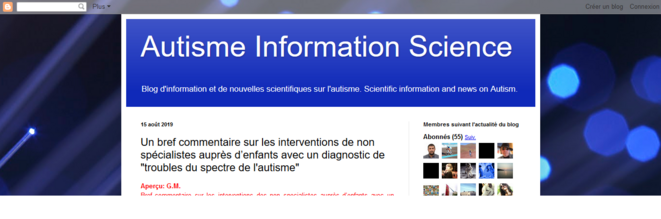 Article Autisme Information Science © Capture d'écran