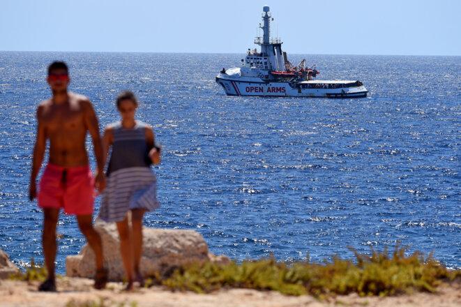 L'«Open-Arms» le 19 août 2019 au large de Lampedusa © Reuters
