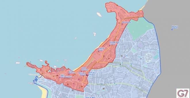 Mapa de la zona roja prevista para el G7 en Biarritz. © Ayuntamiento de Biarritz