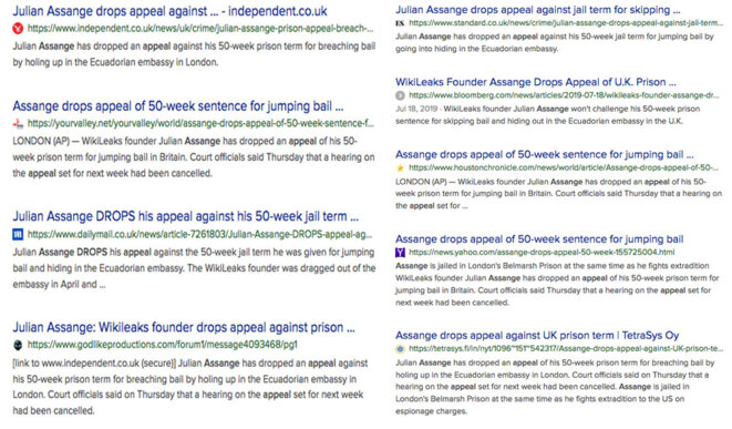 Web search. Assange drops appeal