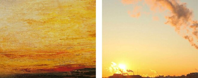 "Yann Mingard, Untitled, Chapter Seven sunsets, left: Joseph Mallord William Turner, Sunset, c. 1830-35 (detail); right: detail of a screenshot of an image found on Google with search keywords ""AQI + air pollution in China 2015"" © Yann Mingard / Tate Britain, courtesy Parrotta contemporary art"