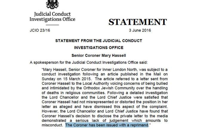 Document édité public, blâme du coroner Hassell