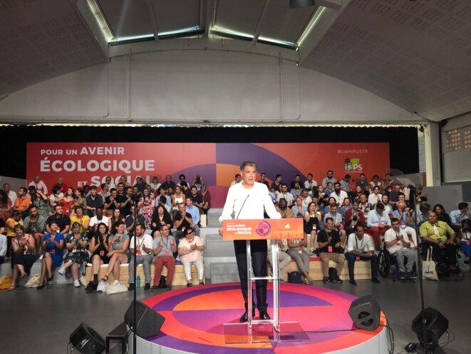 Le premier secratire du PS, Olivier Faure, lors du discours de clotûre de l'université d'été du parti, le 24 août. © MJ