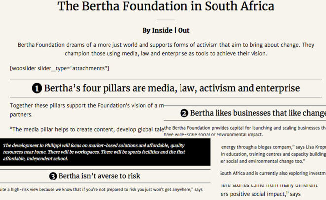South African Bertha foundation agenda, mounted screen copy elements. © Bertha web site Screen copy